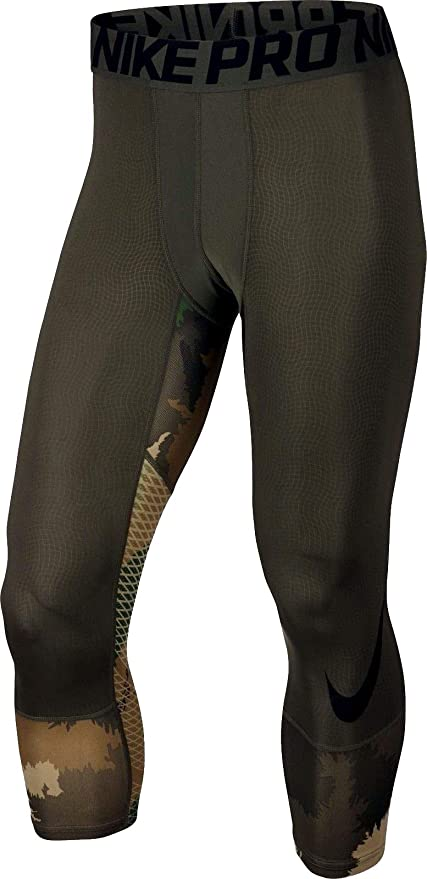 the best attitude 4dfea 2aa49 Nike Men s Pro Hypercool Camouflage 3 4 Compression Training Tights (Large, Cargo  Khaki