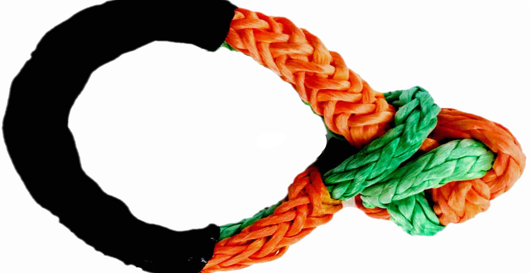 Jutemill Soft Shackle 7/16 by AAYU | 6'' Loop| Breaking Strength 34000 LBS| Apt for Heaving Handling: Recovery, ATV/UTV, Marine Craft| Green & Orange, Winch Bumper Shackle ATV Winch Shackle by Jutemill