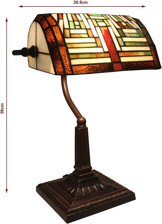 38cm Art Deco Bankers Table Desk Lamp Tiffany Style Glass Shade Amazon Co Uk Lighting