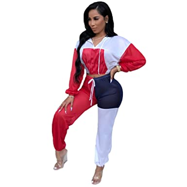 ef546772ef4b6 2 Piece Outfits for Women Winter Clubwear Sexy Plus Size Long Sleeve Hooded  Crop Top and Pants Set at Amazon Women s Clothing store
