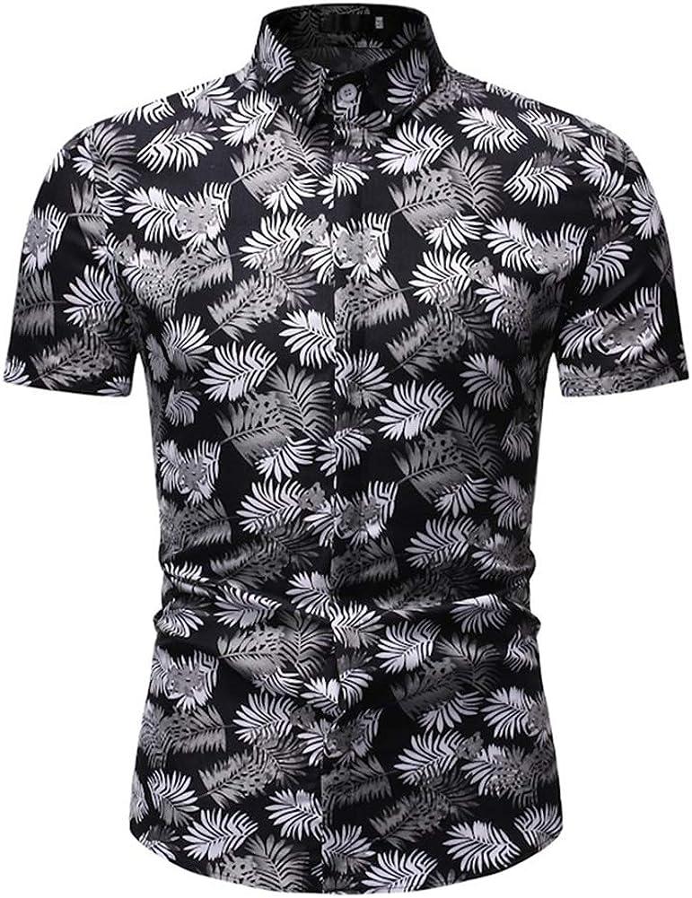 Mens Hawaiian Printed Shirt Mens Beach Short Sleeve Casual Button Down Shirts Turquoise,XXXL