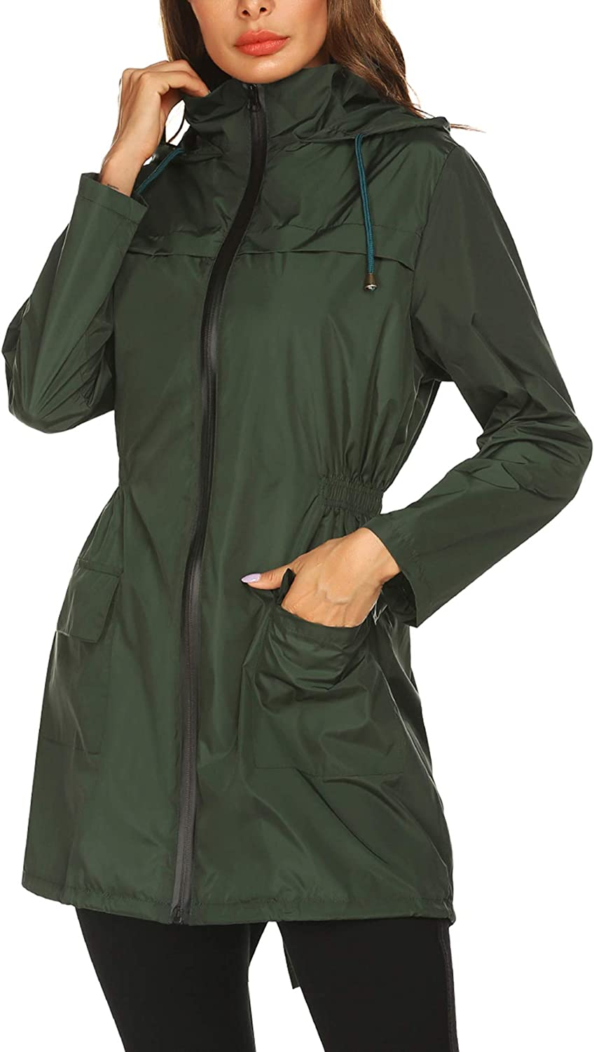 NAVISKIN Womens Raincoat Waterproof Rain Jacket Lightweight Packable Windbreaker Hooded Coats