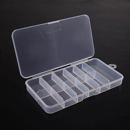 Everpert - Caja de 10 cuadrículas de plástico transparente para decoración de uñas, caja de