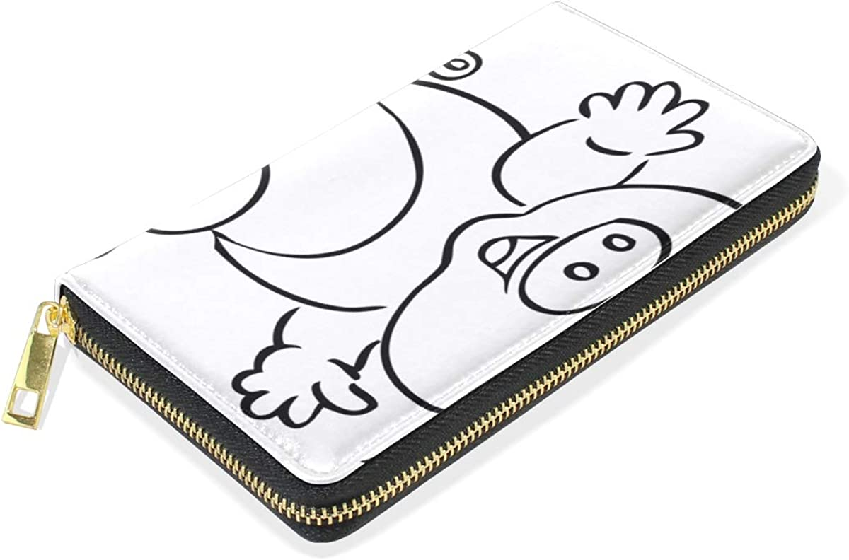 Abstract White Pig Wallet Real Leather Zipper Coin Phone Purse Clutch for Women