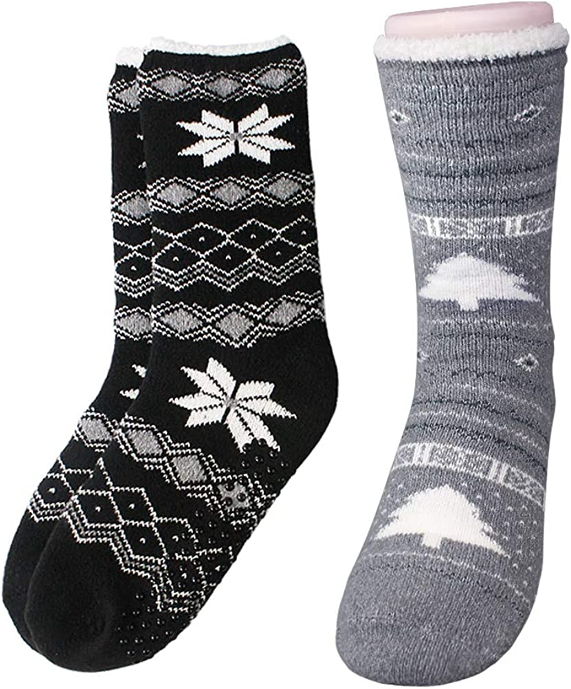 VERO MONTE 2 Pairs Slipper Socks For Women Fuzzy Socks With Grips Fluffy Socks