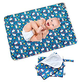 "Flockthree Waterproof Baby Changing Pad with Storage Bag (43.3"" X 28.7"") Washable Wipeable Reusable Leak Proof Diaper Travel Mat Station Changing Mattress Liner Cribs Bed Cover, Happy Unicorns"