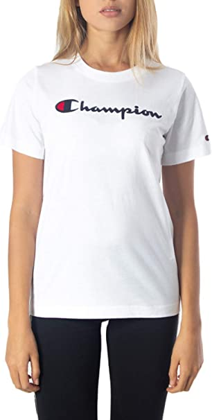 Champion T-Shirt Donna Bianco Basic Girocollo Stampa con Logo 111971WW001 M