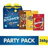 M&M's, Skittles Party Poppers Assorted Chocolates and Candy Gift Pack (Skittles Original, 68g + M&M's Milk Chocolate Candies, 100g + M&M's Peanut Chocolate Candies 100g), 268g