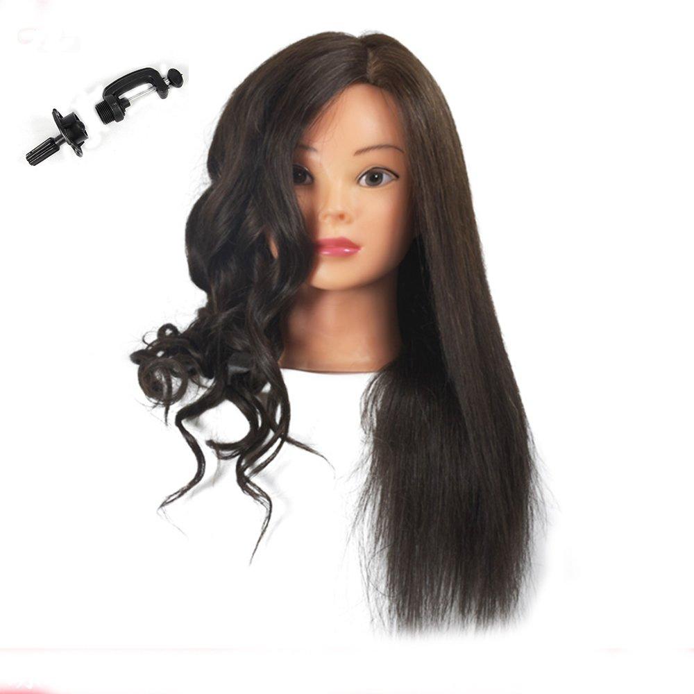 Tete d'entrainement avec des cheveux humains 100% vrais. Mannequin de coiffure (support de fixation de table inclus) BoLli