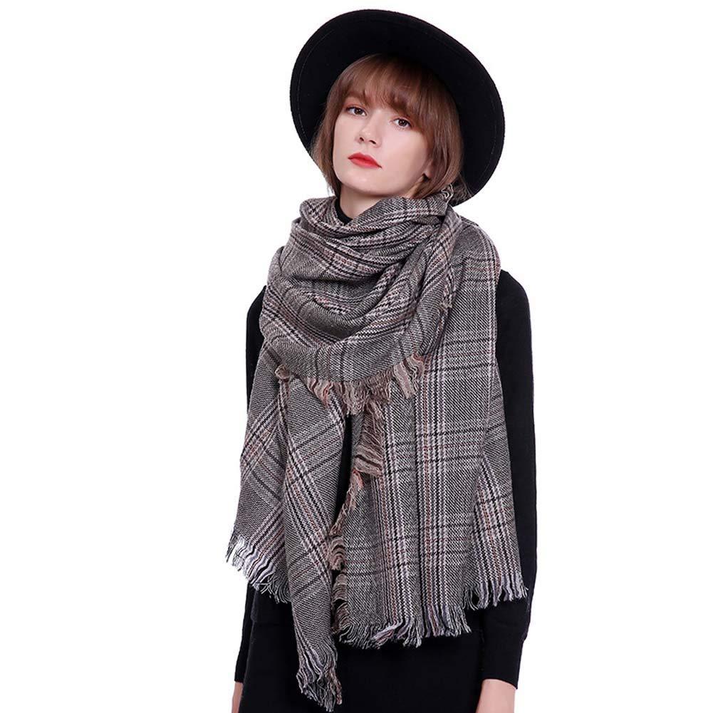 Women's Warm Cashmere Scarf Fashion Classic Plaid Long Shawl