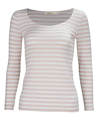 2d6722990c3 KalvonFu Women's Rayon Striped White Black Long Sleeve T-Shirt Blouse (XL, Pink  White): Amazon.in: Clothing & Accessories