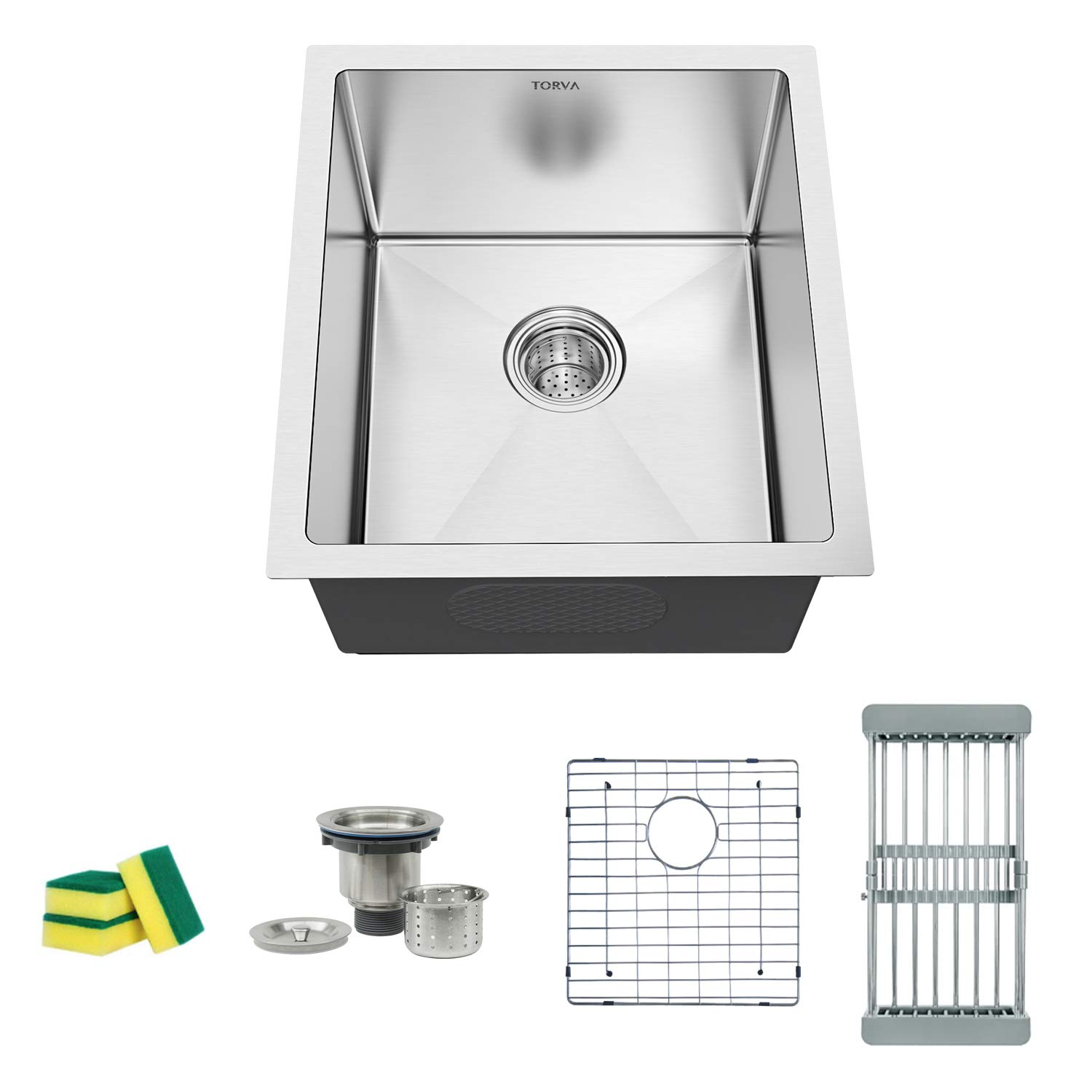 TORVA 15 x 17 Inch Undermount Kitchen Sink, 16 Gauge Stainless Steel Wet Bar or Prep Sinks Single Bowl, Fits 18'' Cabinet by TORVA