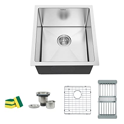Torva 15 Inch Undermount Kitchen Sink 16 Gauge Stainless Steel Wet Bar Or Prep Sinks Single Bowl Fits 18 Cabinet