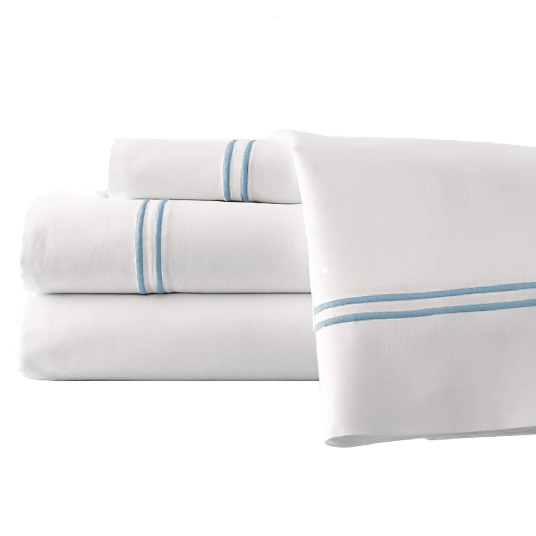 Monaco Four Piece Queen Double Marrow Cotton Sheet Set, White and Blue
