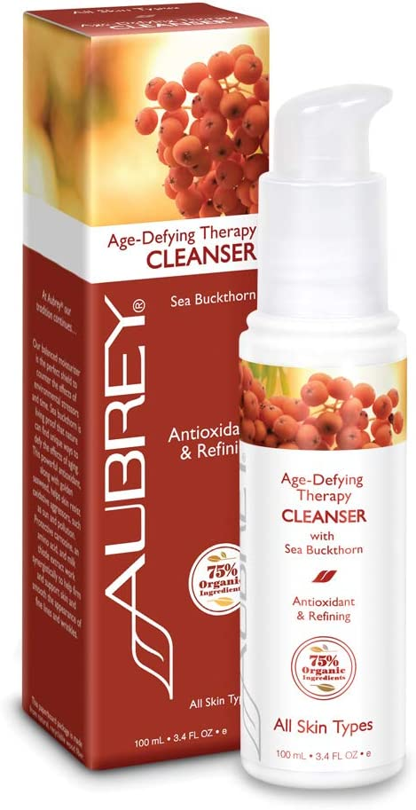 Aubrey Age-Defying Therapy Facial Cleanser | Antioxidant, Protects & Refines Skin | Sea Buckthorn | 75% Organic Ingredients | All Skin Types | 3.4oz