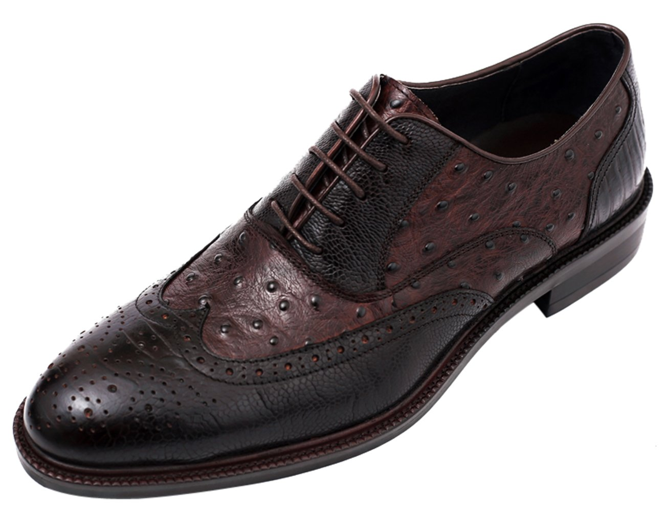 Santimon Mens Shoes Casual Classic Brogue Lace up Embossed Leather Printed Dress Shoes by Tan 6.5 D(M) US