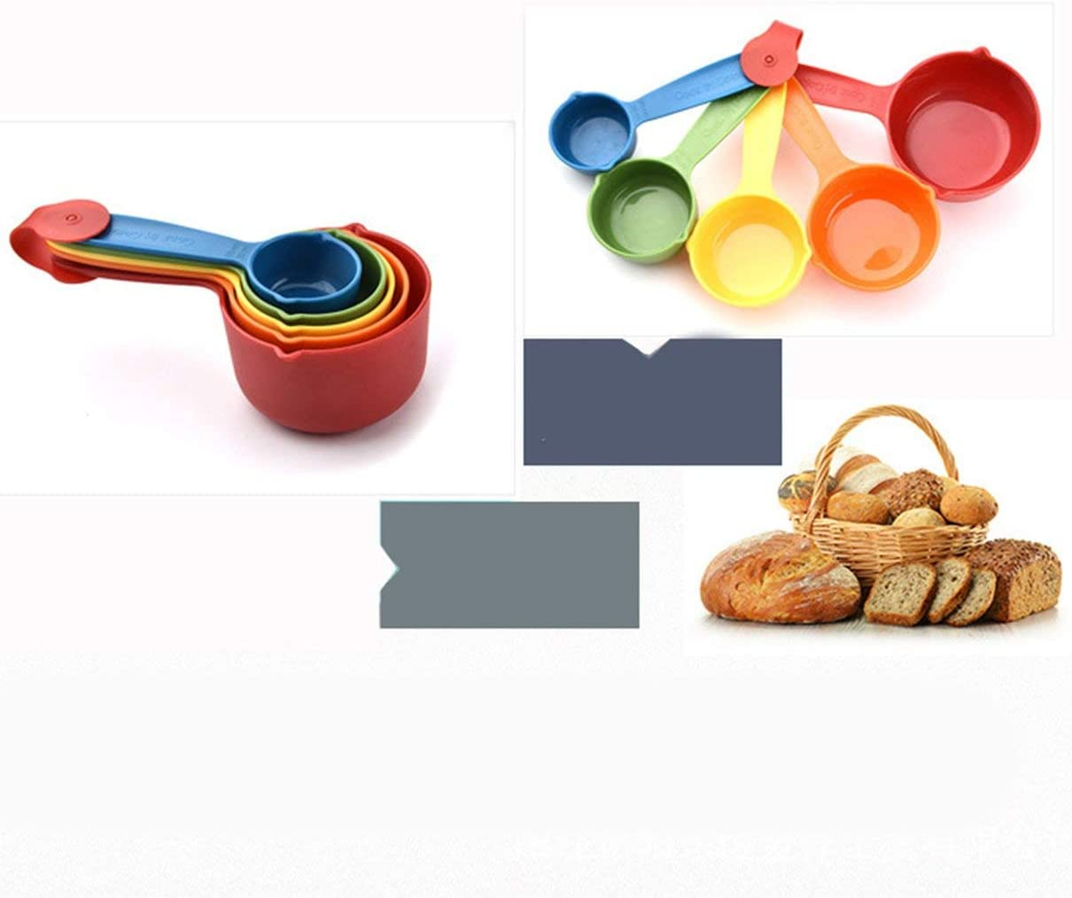 5 Pcs//Set Colorful Plastic Kitchen Measuring Cups Ergonomic Handle Sugar Cake Baking Spoon Household Measuring Scoop