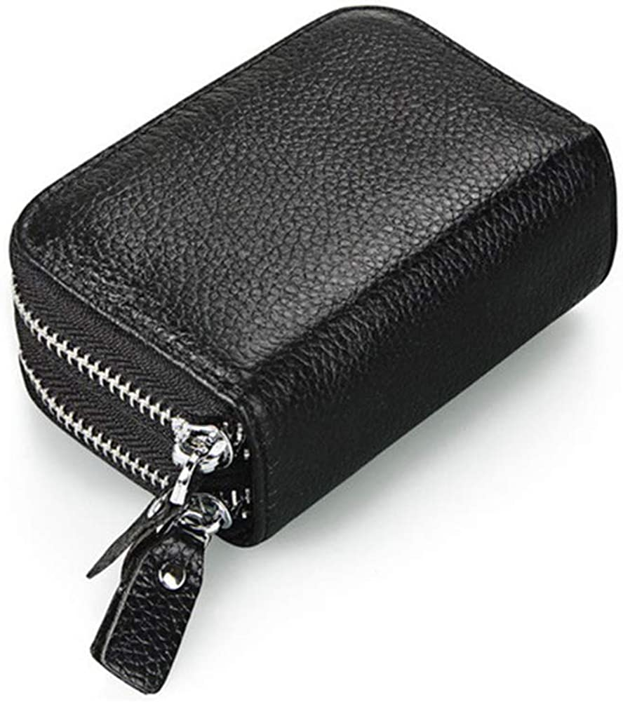 Security Travel Wallet RFID Blocking Two-sides Zipper Leather Business//Credit Card Money Wallet Case Holder by BAKUN