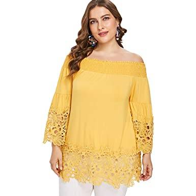a386866ed0d3 iDeesse Women's Plus Size Bell Sleeve Off Shoulder Cutwork Floral Lace  Blouse (Sun Yellow,