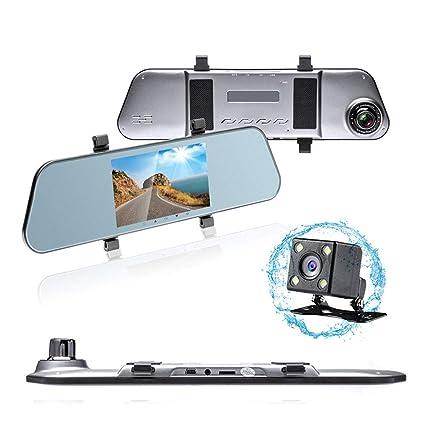 HD LCD Mirror Monitor Dash Cam Dual Lens Car DVR Reverse Rear View Camera Kit