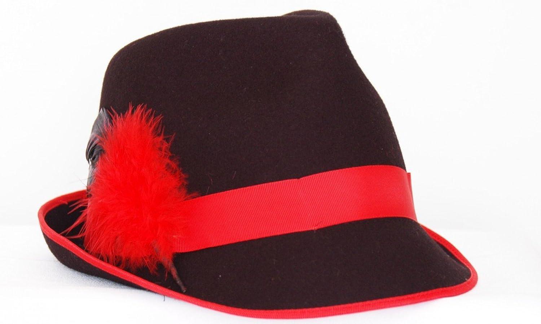 Trachtenhut in schwarz/rot von Faustmann