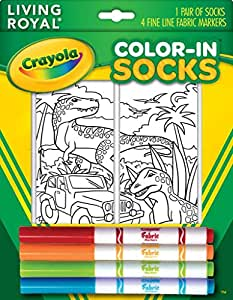 Crayola Color In Socks With 1 Pair Of Socks And 4 Fabric Markers Dinosaur Design
