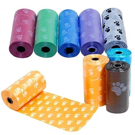Runfon 5 rollos de bolsas para recoger excrementos de perros, bolsas higiénicas biodegradables para excrementos, bolsa para excremento de animales.