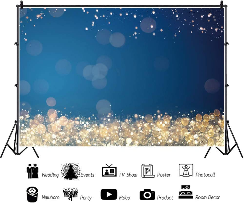 Blur Bokeh Halos Background 8x6ft New Year Party Polyester Photography Backdrop Glitter Light Bokehs Blue Back Drop Festive Holiday Party Wedding Birthday Baby Newborn Portrait Shoot Decor Banner