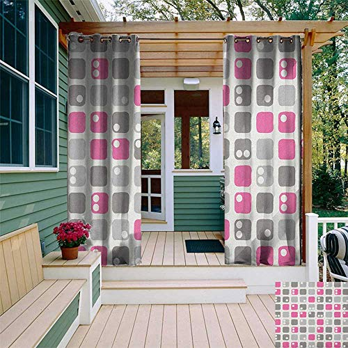 leinuoyi Geometric, Outdoor Curtain Set, Square Shapes with Dots in Pastel Color Palette Ornamental Pattern Image, Balcony Curtains W108 x L108 Inch Pink White Grey ()
