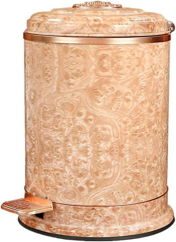 ゴミ箱、6Lブラシをかけられたステンレス鋼の金属の大理石のレトロのペダルの大箱の台所浴室のゴミ箱、不用な容器