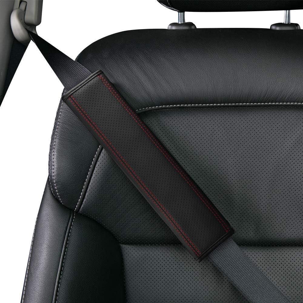 Wakauto 1 Pair Car Seat Belt Pads Seatbelt Protector Soft Seat Belt Shoulder Strap Covers Harness Pads for Auto Automobile Car Decoration Black