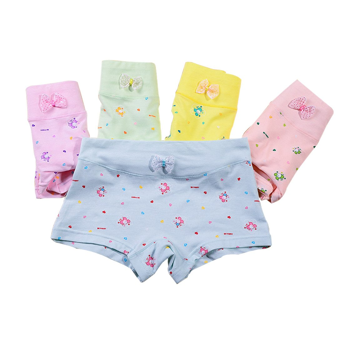 Copapa 5 Packs Girls Pants Printing Brief for 5-7 Years (Bee)