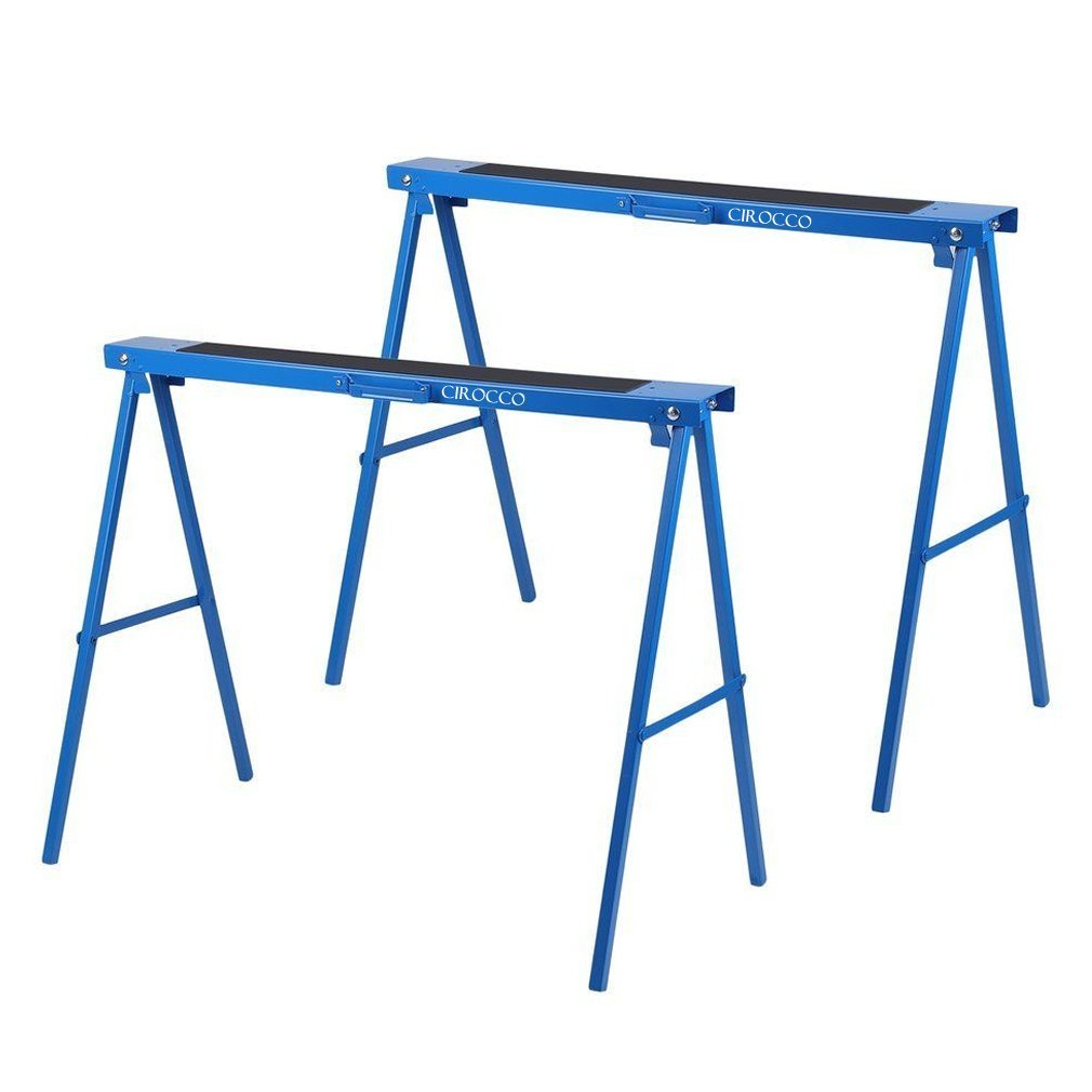 Cirocco 2 Packs Folding Sawhorse Foldable Steel Legs Blue | Portable Twin Pair Heavy Duty 250lbs Weight Capacity Anti Slip Rubber Coating Ergonomic Nonslip Platform Durable Exquisite Workmanship.