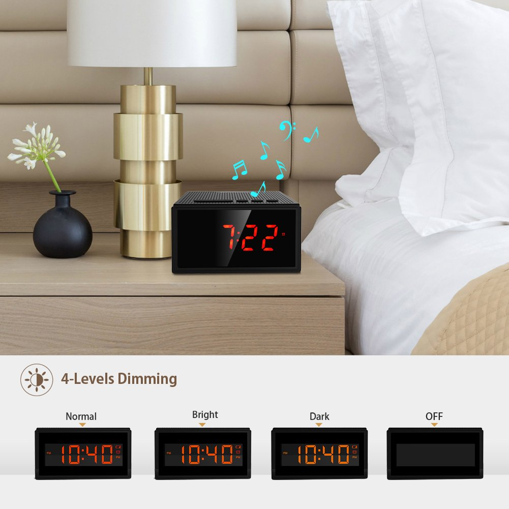 Altavoz Bluetooth,Radio Despertador Inalámbrico - (Pantalla Digital,Luz Regulable,Cuatro Alarma),8W Altavoz Bluetooth Portátil Recargable con 12 Horas de ...