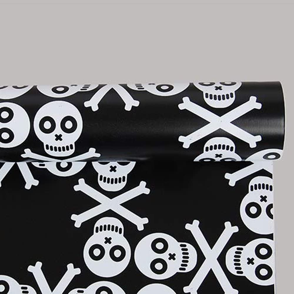 SimpleLife4U White Skeleton Skull Contact Paper Black Self-adhesive Shelf Liner Bookcase Sticker Halloween Decor 17.7 Inch by 13 Feet