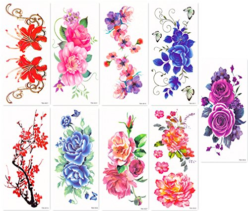 Dalin Sexy Temporary Tattoos Women 9 Sheets Peony Flower Plum