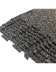 "Gator Interlocking Rubber Flooring Tiles, Commercial Grade, 2' X 2' X 5/16"" - 8 Tiles/Pack (Total 32 sq ft Coverage)…"