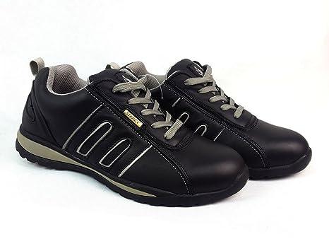 Zapatos de seguridad con puntera de acero para hombre o mujer, piel sintética, Grey/Black Suede, 10