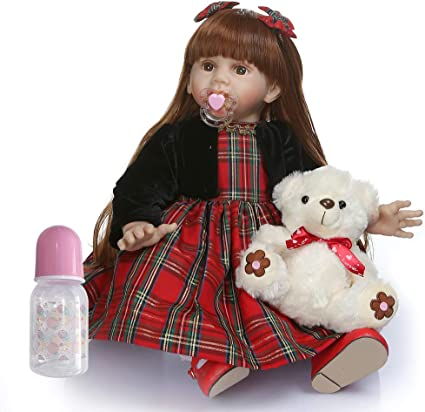 iCradle 24inch 60cm Reborn Baby Doll Long Hair Girl Doll Soft Silicone Babies Life Like Toddler Doll Toy Gift for Ages 3+ B