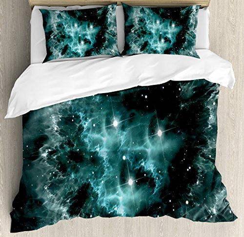 Outer Space Duvet Cover Set Queen Size by Ambesonne, Space Nebula in the Space with Crystal Star Cluster Galaxy Solar System Cosmos Print, Decorative 3 Piece Bedding Set with 2 Pillow Shams, Teal by Ambesonne