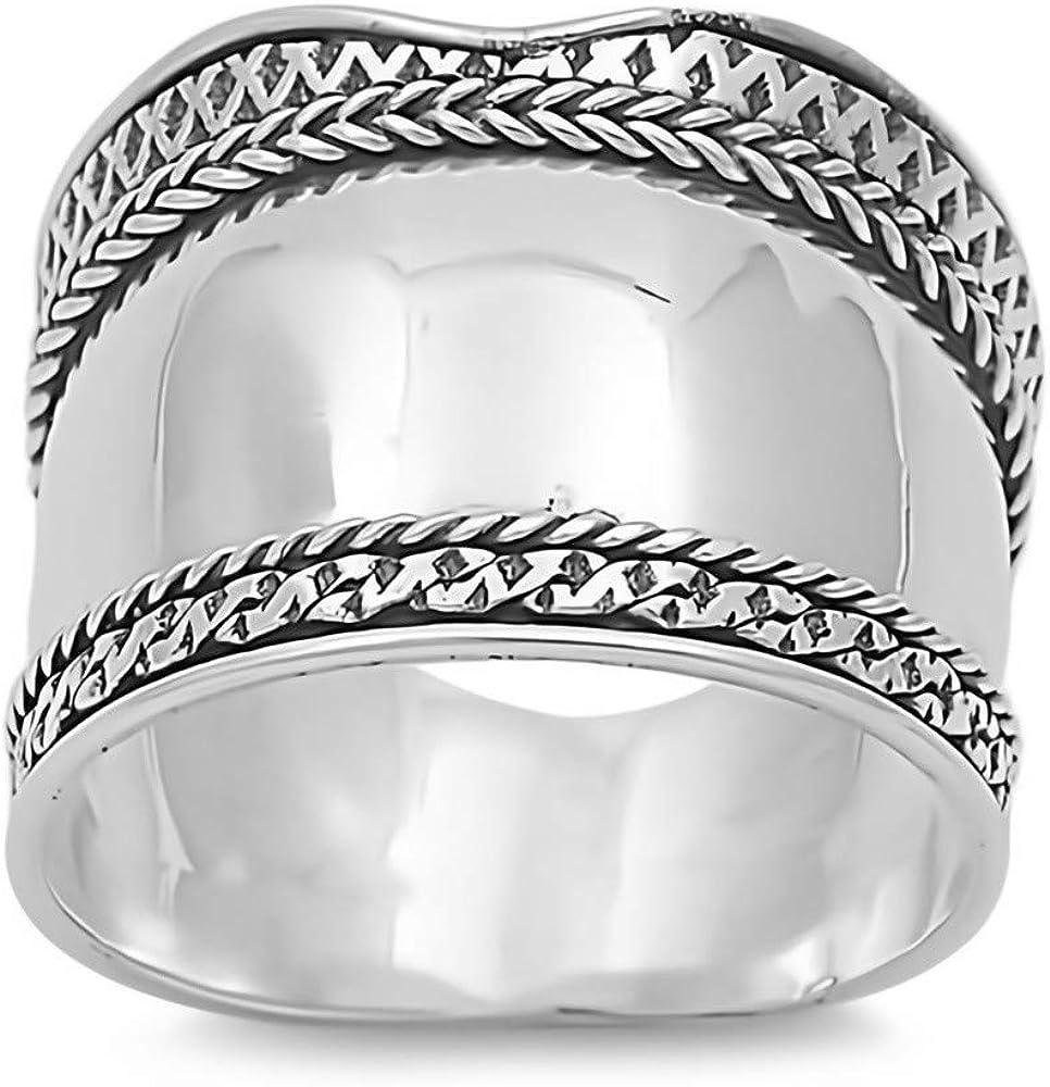 Glitzs Jewels 925 Sterling Silver Bali Ring Jewelry Gift