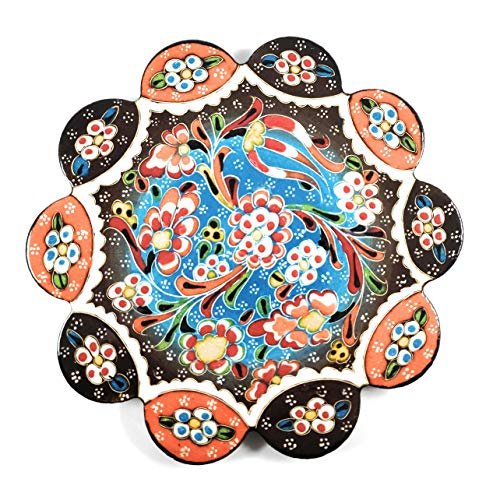 Handmade Turkish Ceramic Pottery Flower-shape Tile Trivet (Relief-003)