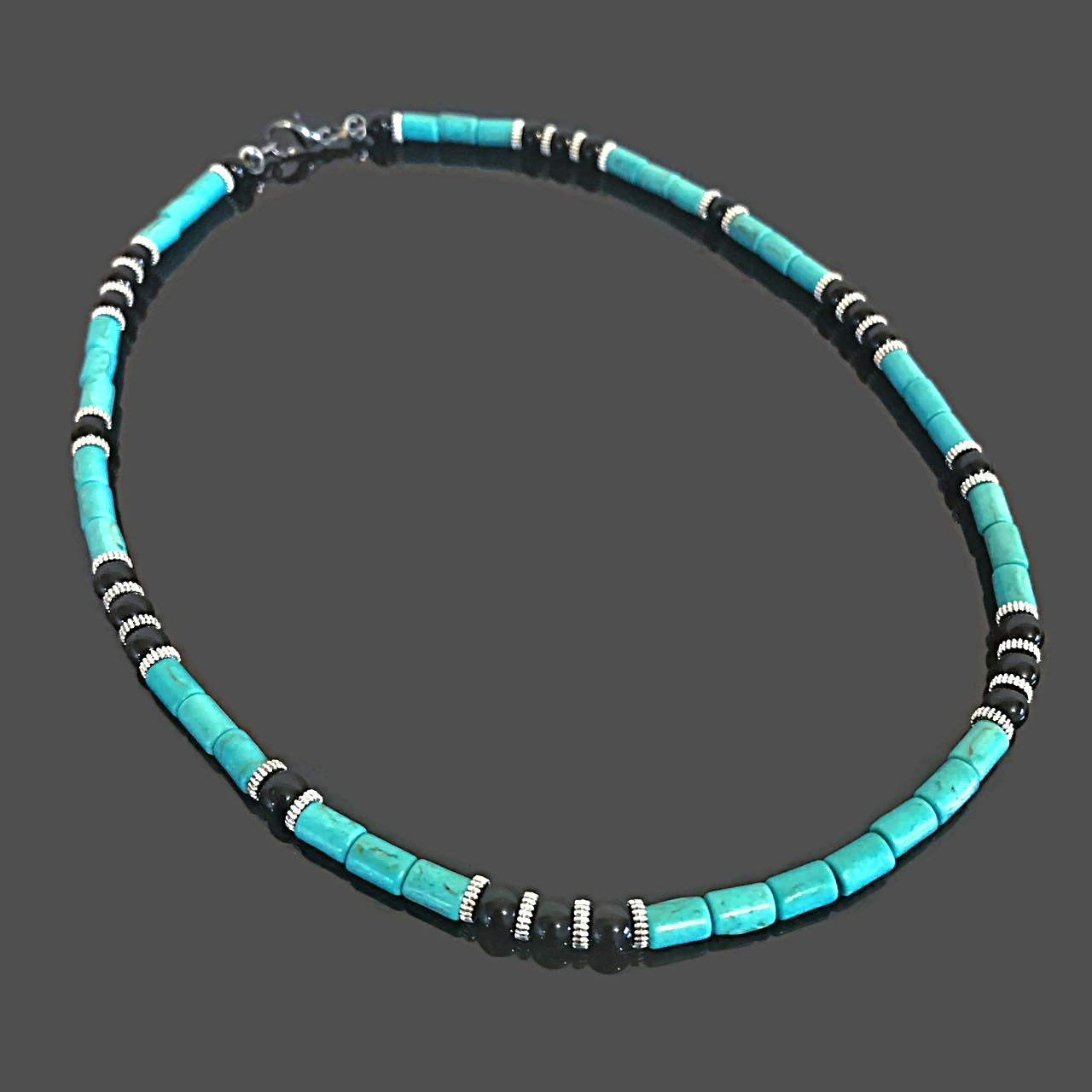 Mens Beaded Necklace Men Surfer Necklace Mens Black Onyx Necklace Choker Beach Necklace Men Silver Hematite African Necklace