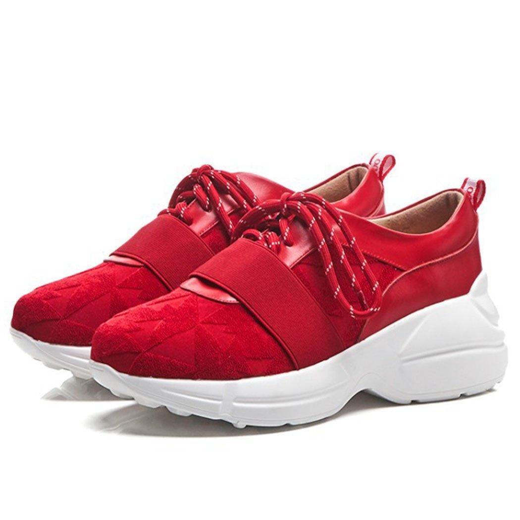 GAOLIXIA Zapatos de Mujer con Cordones Zapatillas de Deporte Retro Ligeras Zapatos Casuales Zapatillas de Deporte de Running Zapatillas de Deporte atléticas 38 EU|Rojo