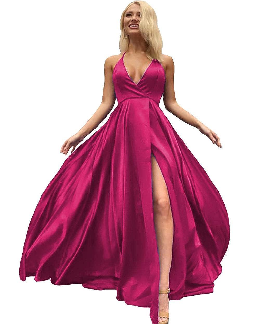 Lavender IVYPRECIOUS V Neck Side Split Prom Dresses A Line Long Evening Gowns for Women