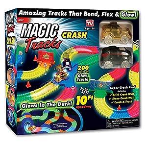 Amazing Tracks 10 ft. 200 Pieces Mega Set With 2 LED Race cars MEGA-Cool Colorful Glow Crash Set