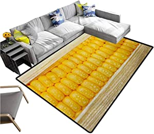 "Health Living Room Floor Carpets Corn Cob Stem with Raindrops Water Marks Mexican Vegetable Photo Artwork Image Children Play Mat Yellow and Cream (6'6""x8')"
