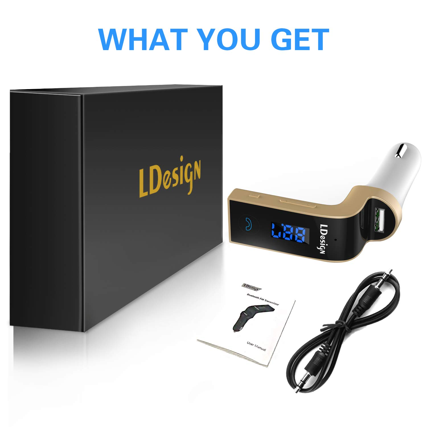 FM Transmitter, LDesign Bluetooth Wireless in-Car FM Radio Adapter Car Kit with Hand Free Call | Stereo 4 Modes Music Play | TF Card &U-Disk Reading Applicable for All Smart Phones -Gold by LDesign (Image #1)