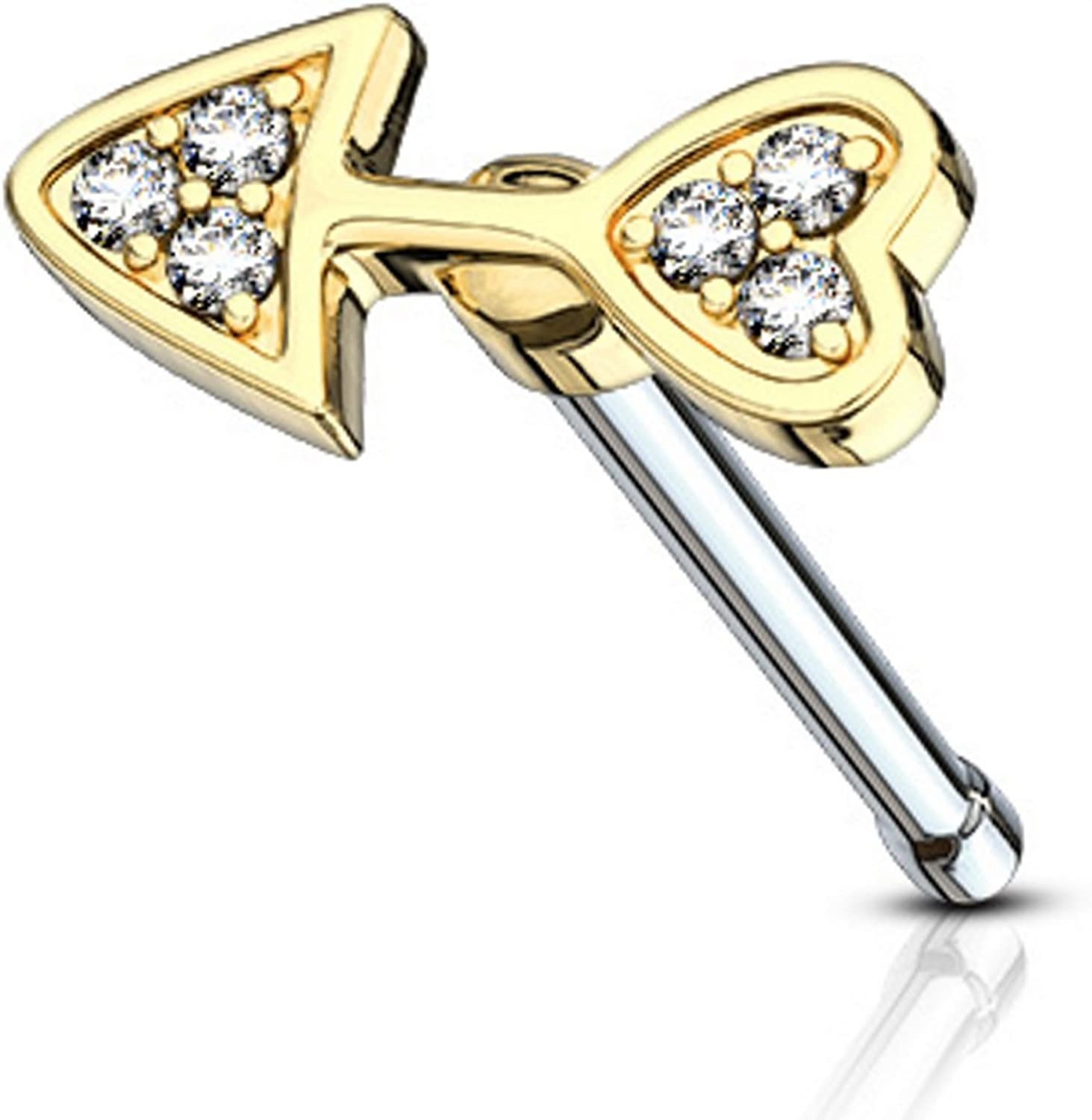 Gold Colored Arrow L-Shaped Nose Ring 0.8mm 20G - Sold as a Pair
