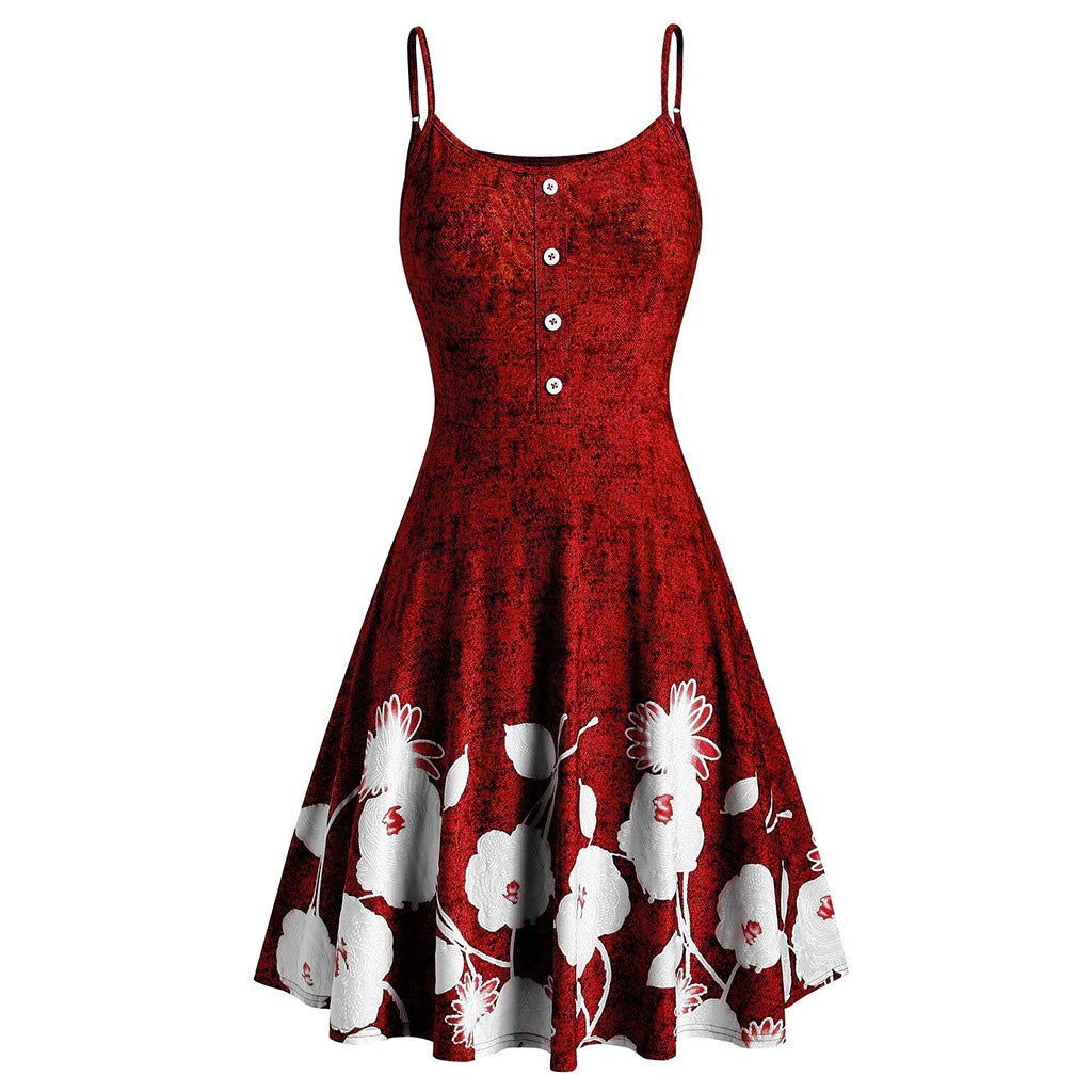 ONLY TOP Womens Sleeveless Floral Printed Swing Sundress Spaghetti Strap Dresses Cocktail Party Swing Dress Red by ONLYTOP_Clothing